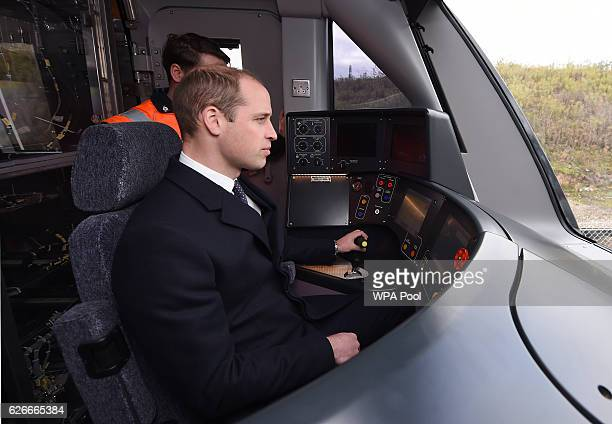 Prince William Duke of Cambridge drives a Crossrail train as he visits Bombardier Transportation where he looked at Crossrail carriage assembly lines...
