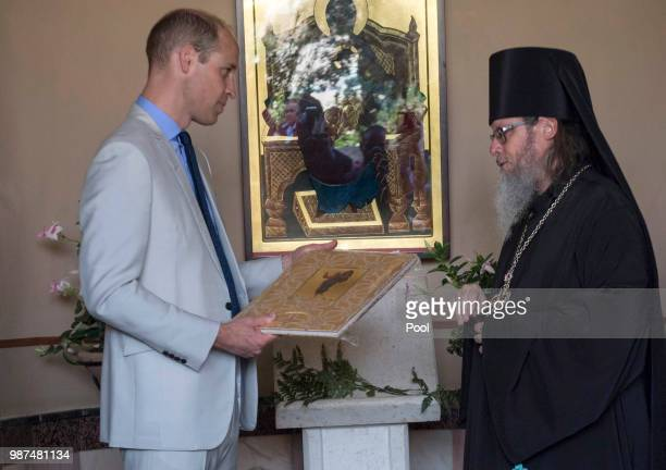 Prince William Duke of Cambridge during a visit to the Church of St Mary Magdalene to pay his respects at the tomb of his greatgrandmother Princess...