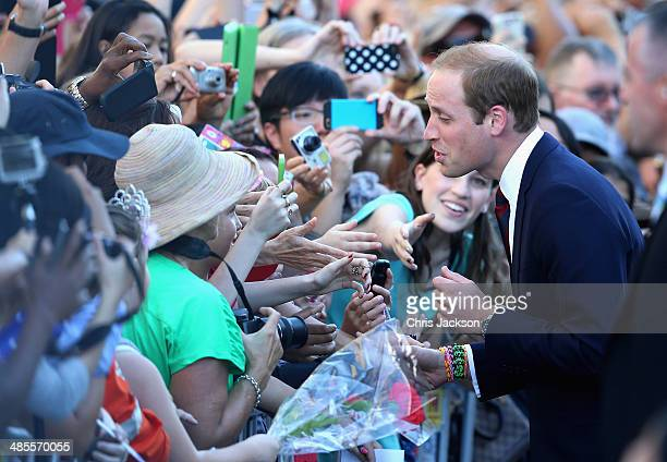 Prince William Duke of Cambridge during a walkabout on on the South Bank on April 19 2014 in Brisbane Australia The Duke and Duchess of Cambridge are...