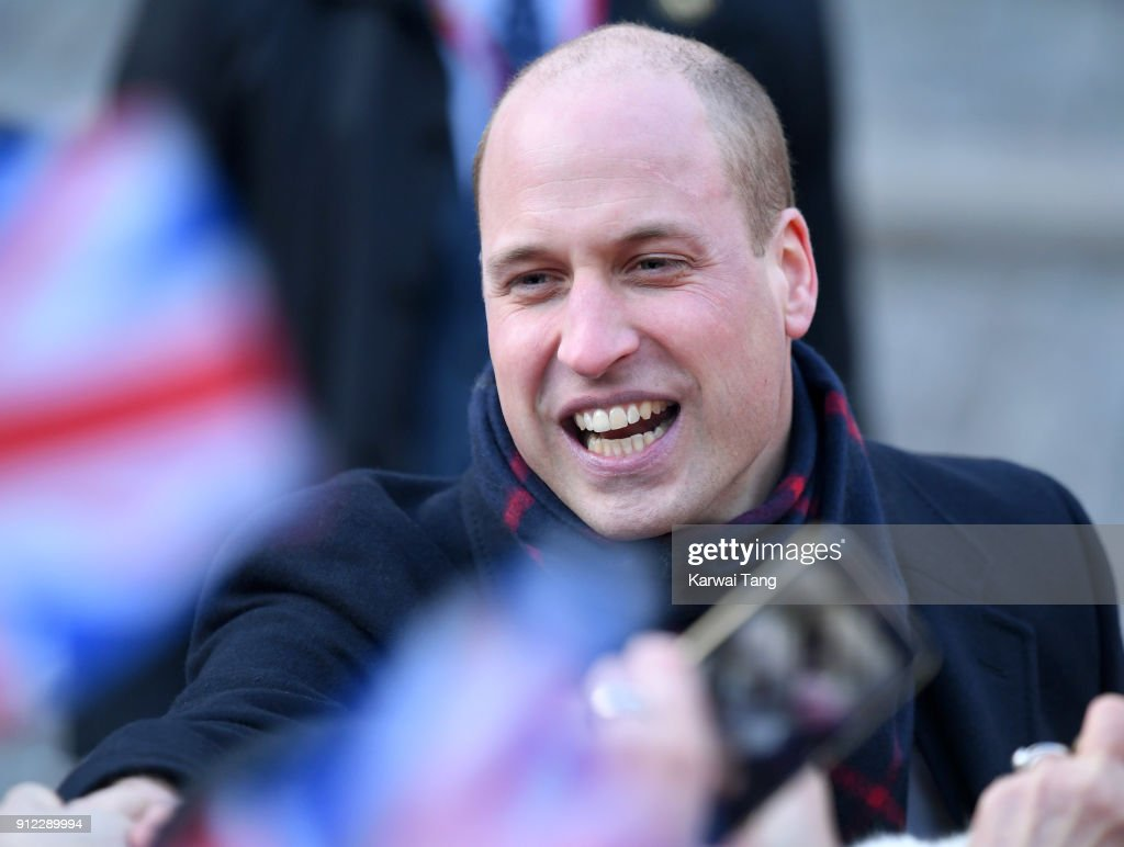 Prince William; Duke of Cambridge during a walkabout through the cobbled streets of Stockholm from the Royal Palace to the Nobel Museum during day one of their Royal visit to Sweden and Norway on January 30, 2018 in Stockholm, Sweden.