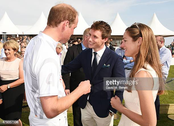 Prince William, Duke of Cambridge, Eddie Redmayne and Hannah Bagshawe attend the Audi Polo Challenge 2015 at Cambridge County Polo Club on July 3,...