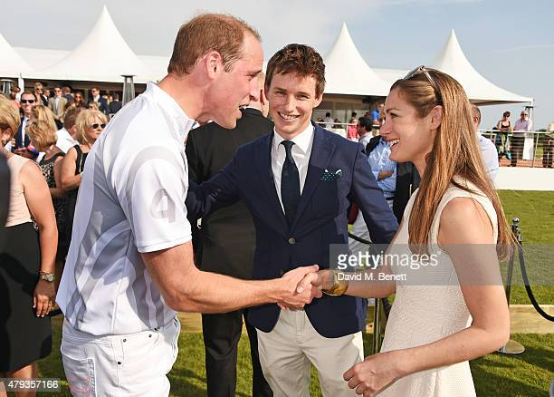 Prince William Duke of Cambridge Eddie Redmayne and Hannah Bagshawe attend the Audi Polo Challenge 2015 at Cambridge County Polo Club on July 3 2015...