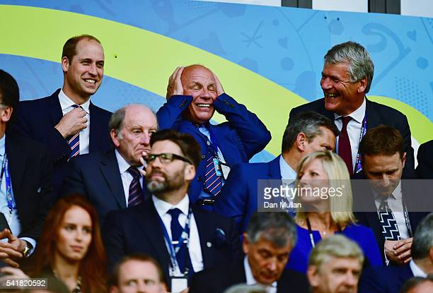 Prince William, Duke of Cambridge, FA chairman Greg Dyke and David Gill are seen in the stand prior to the UEFA EURO 2016 Group B match between...