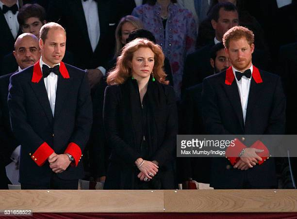 Prince William Duke of Cambridge Floria Landgravine of Hesse and Prince Harry attend the final night of The Queen's 90th Birthday Celebrations being...