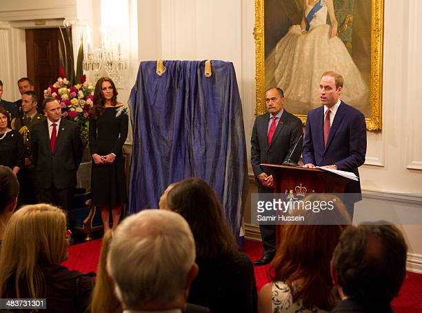 Prince William Duke of Cambridge gives a speech ahead of unveiling a portrait of Queen Elizabeth II painted by New Zealand artist Nick Cuthell at a...