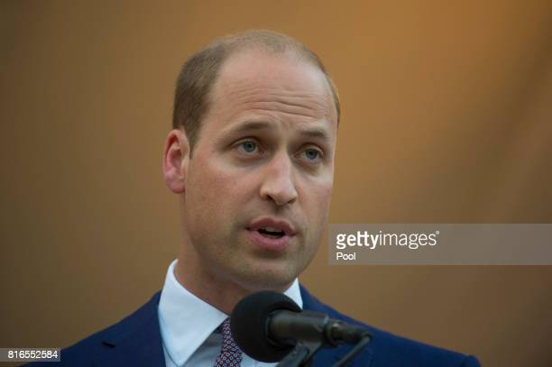 Prince William Duke of Cambridge gives a speech as he attends the Queen's Birthday Garden Party at the Orangery on day 1 of their official visit to...