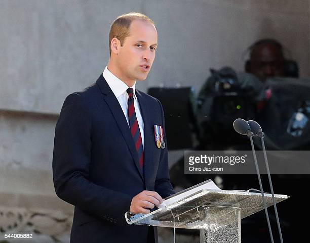 Prince William, Duke of Cambridge gives a speech as he takes part in a vigil at Thiepval Memorial to the Missing of the Somme during Somme Centenary...