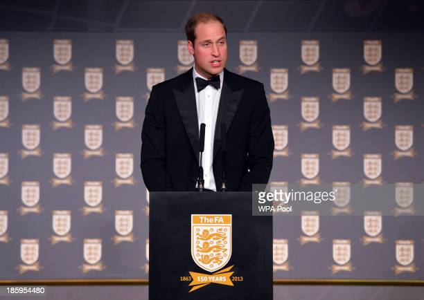 Prince William Duke of Cambridge gives a speech during The Football Association's 150th Anniversary Gala Dinner at the Grand Connaught Rooms on...