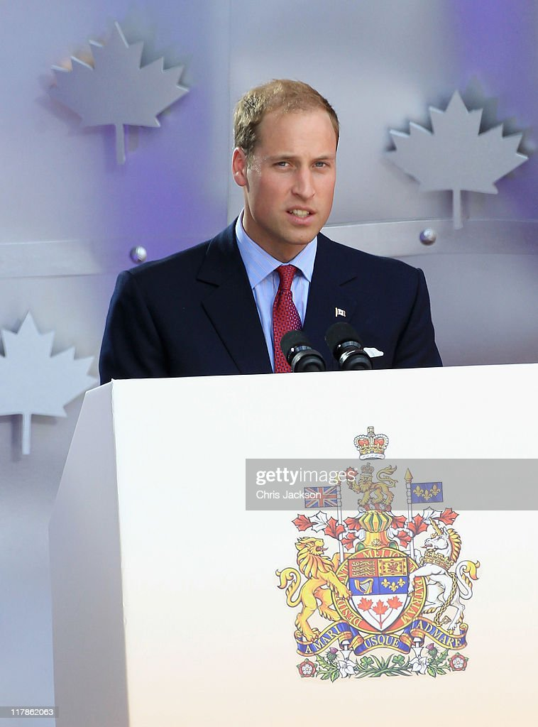 Prince William, Duke of Cambridge gives a speech on stage at Parliament Hill during Canada Day Celebrations on July 1, 2011 in Ottawa, Canada. The newly married Royal Couple are on the second day of their first joint overseas tour. Ottawa is the start of a 12 day visit to North America which will take in some of the more remote areas of the country such as Prince Edward Island, Yellowknife and Calgary. The Royal couple will be joining millions of Canadians in taking part in today's Canada Day celebrations which mark Canada's 144th Birthday.