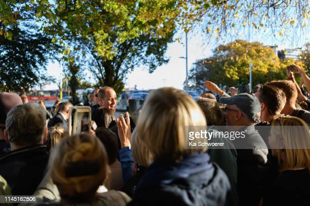 Prince William, Duke of Cambridge greets members of the public during a walkabout at Oi Manawa Canterbury Earthquake National Memorial on April 26,...