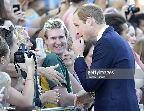 Prince William Duke of Cambridge greets well wishers at Southbank on April 19 2014 in Brisbane Australia The Duke and Duchess of Cambridge are on a...