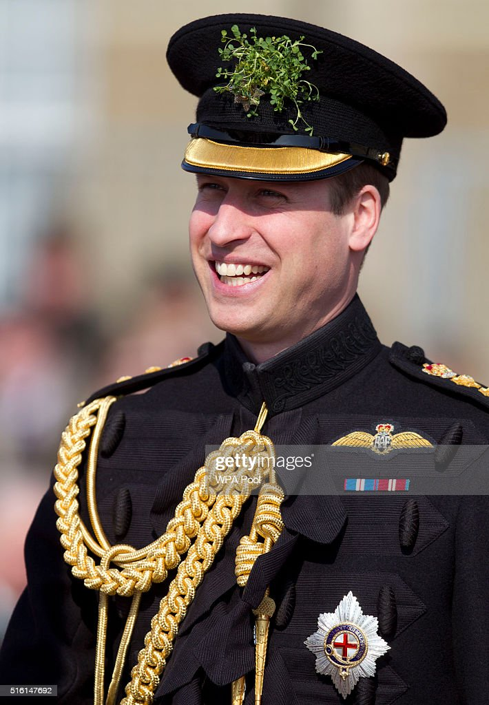 The Duke Of Cambridge Visits The 1st Battalion Irish Guards For The St. Patrick's Day Parade : News Photo