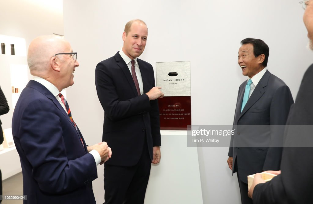 Prince William, Duke of Cambridge holds talks with Director General of Japan House, Michael Houlihan (L) and Japan's Deputy Prime minister Taro Aso (R) after the plaque unveiling during The Official Opening of Japan House London, the new Cultural Home of Japan in the UK on September 13, 2018 in London, England.