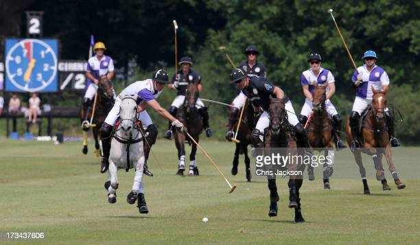 Prince William Duke of Cambridge in action the Jerudong Trophy at Cirencester Park Polo Club on July 14 2013 in Cirencester England