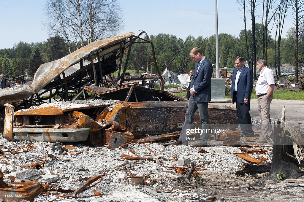 Prince William, Duke of Cambridge inspects a fire-damaged car in a part of town devastated by a fire in May 2011, on July 7, 2011 in Slave Lake, Alberta. The newly married Royal Couple are on the seventh day of their first joint overseas tour. The 12 day visit to North America is taking in some of the more remote areas of the country such as Prince Edward Island, Yellowknife and Calgary. The Royal couple started off their tour by joining millions of Canadians in taking part in Canada Day celebrations which mark Canada's 144th Birthday.