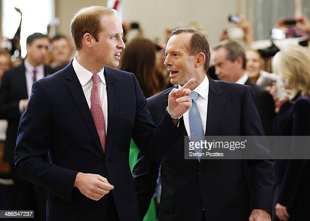 Prince William, Duke of Cambridge is accompanied by Prime Minister Tony Abbott through the Marble Hall at Parliament House on April 24, 2014 in...