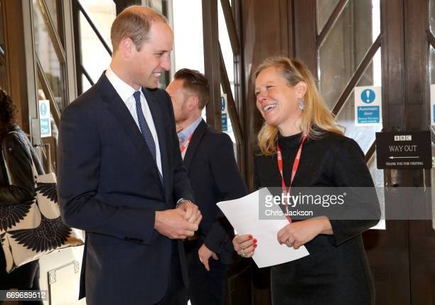 Prince William, Duke of Cambridge is greeted by Charlotte Moore, BBC Director of Content as he attends a reception and screening of the BBC...