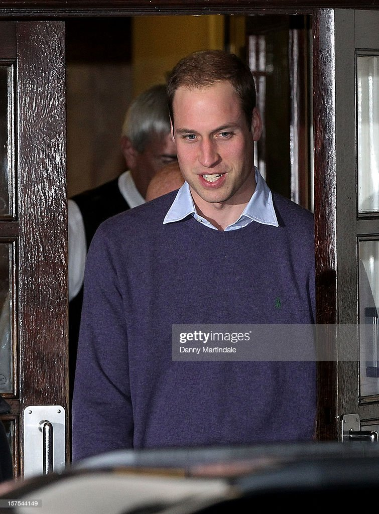 Prince William, Duke of Cambridge is seen leaving the King Edward VII Hospital on December 4, 2012 in London, England.
