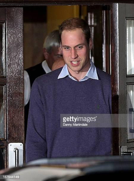 Prince William Duke of Cambridge is seen leaving the King Edward VII Hospital on December 4 2012 in London England