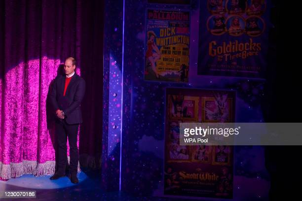 Prince William, Duke of Cambridge is seen on stage ahead of giving a speech as he attends a special pantomime performance at London's Palladium...
