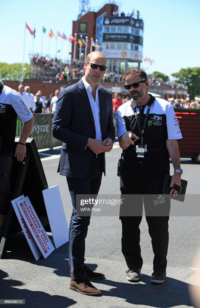 Prince William, Duke of Cambridge is shown the circuit at the Isle of Man TT on June 6, 2018, Isle of Man, United Kingdom.