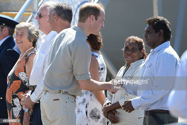 Prince William Duke of Cambridge is welcomed by traditional owner Vincent Nipper as he and Catherine Duchess of Cambridge arrive at Ayres Rock...
