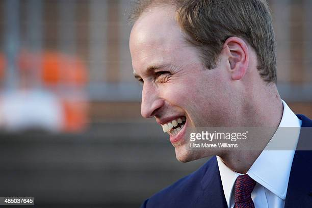 Prince William Duke of Cambridge laughs while meeting fans at the Sydney Opera House on April 16 2014 in Sydney Australia The Duke and Duchess of...