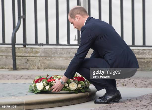Prince William, Duke of Cambridge lays a wreath as he attends Service of Hope at Westminster Abbey on April 5, 2017 in London, England. The...