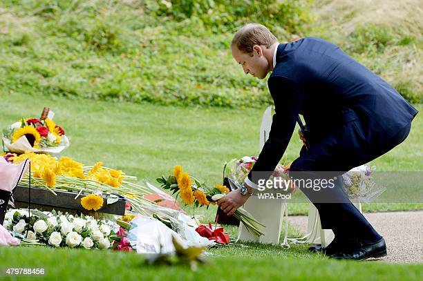 Prince William Duke of Cambridge lays a wreath during the July 7 memorial in Hyde Park to commemorate the tenth anniversary of the London 7/7...