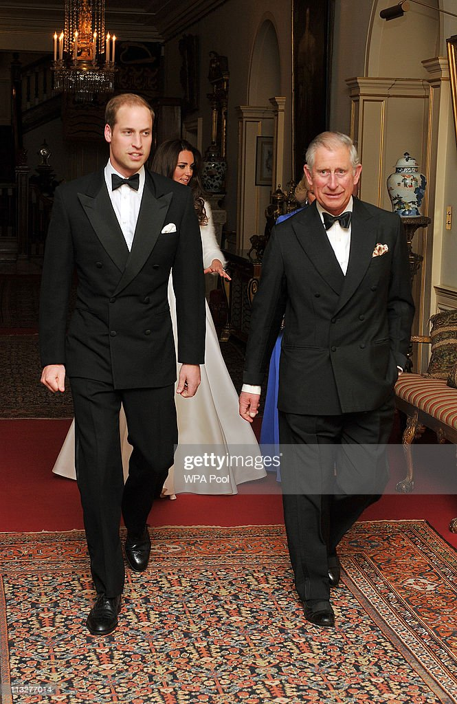 Prince William, Duke of Cambridge (L) leaves Clarence House with his father Prince Charles, Prince of Wales to travel to Buckingham Palace for the evening celebrations following his wedding to Catherine, Duchess of Cambridge on April 29, 2011 in London, England. The marriage of the second in line to the British throne was led by the Archbishop of Canterbury and was attended by 1900 guests, including foreign Royal family members and heads of state. Thousands of well-wishers from around the world have also flocked to London to witness the spectacle and pageantry of the Royal Wedding.