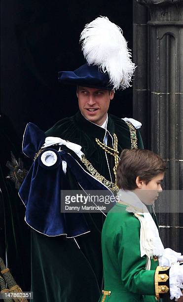 Prince William, Duke of Cambridge leaves St Giles Cathederal after the Thistle Ceremony on July 5, 2012 in Edinburgh, Scotland. Prince William, Duke...