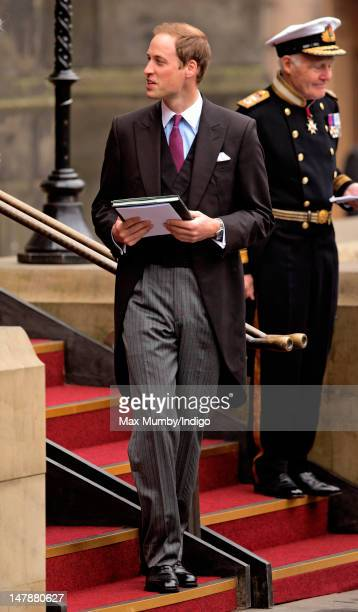 Prince William Duke of Cambridge leaves St Giles' Cathedral after attending a rehearsal for the Thistle Service on July 5 2012 in Edinburgh Scotland