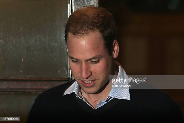 Prince William Duke of Cambridge leaves the King Edward VII Private Hospital on December 5 2012 in London England The Prince's wife Catherine Duchess...