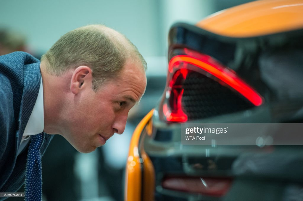 Prince William, Duke of Cambridge looks at a McLaren 720S under construction as he walks the factory floor during a visit to McLaren Automotive at McLaren Technology Centre on September 12, 2017 in Woking, England.