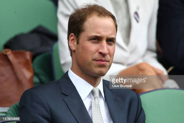 Prince William Duke of Cambridge looks on from the Royal Box on Centre Court during day nine of the Wimbledon Lawn Tennis Championships at the All...