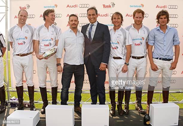 Prince William Duke of Cambridge Luke Tomlinson presenter Tom Hardy Andre Konsbruck Director of Audi UK Mark Tomlinson Prince Harry and William...