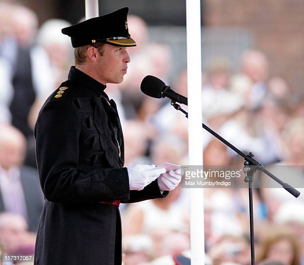 Prince William Duke of Cambridge makes a speech as he attends the Irish Guards Afghanistan Operational Medals Parade at Victoria Barracks on June 25...