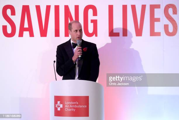 Prince William, Duke of Cambridge makes a speech as he attends the London's Air Ambulance Charity gala at Rosewood London on November 07, 2019 in...