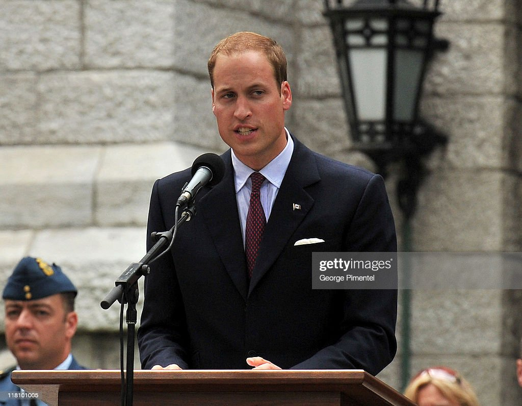 Prince William, Duke of Cambridge makes a speech during a Freedom of the City Ceremony outside City Hall on July 3, 2011 in Quebec, Canada.