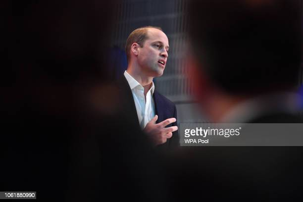 Prince William Duke of Cambridge makes a speech during a visit BBC Broadcasting House on November 15 2018 in London England The Royal couple came to...