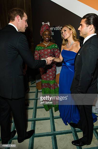 Prince William Duke of Cambridge Mary Molokwu Katherine Jenkins Andrew Levitas attend the annual Tusk Trust Conservation awards at Claridge's Hotel...