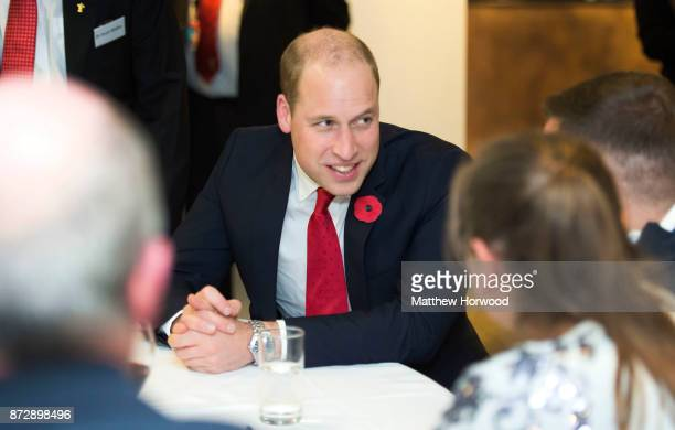 Prince William Duke of Cambridge meets beneficiaries of the Welsh Rugby Charitable Trust which supports players who have been injured playing...