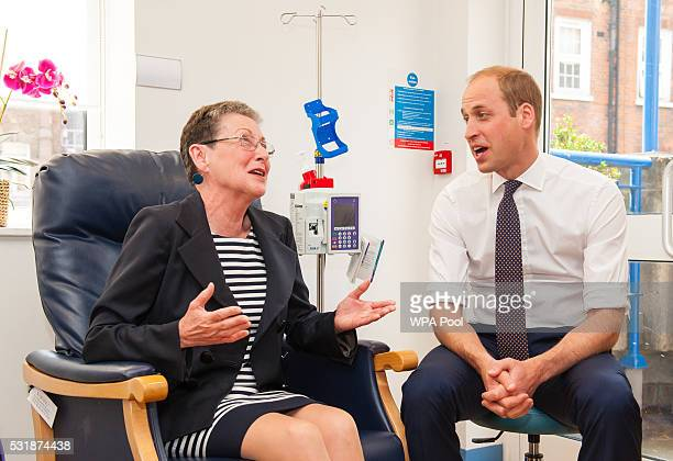 Prince William Duke of Cambridge meets breast cancer patient Patricia Cook during a visit to the Royal Marsden NHS Foundation Trust in Chelsea west...