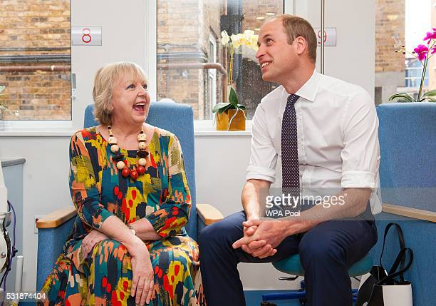 Prince William Duke of Cambridge meets breast cancer patient Sally Munton during a visit to the Royal Marsden NHS Foundation Trust in Chelsea west...