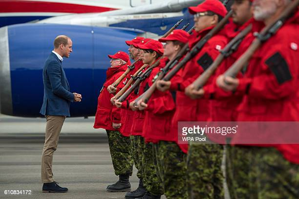 Prince William Duke of Cambridge meets Canadian Rangers as he arrives at Whitehorse Airport on September 27 2016 in Whitehorse Canada Prince William...
