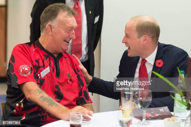 Prince William Duke of Cambridge meets Gareth Moyle a beneficiary of the Welsh Rugby Charitable Trust which supports players who have been injured...