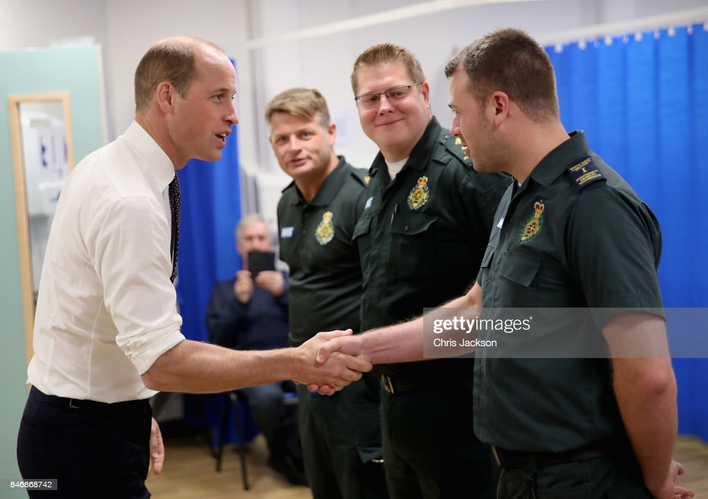 Prince William, Duke of Cambridge meets hospital staff during a visit to Aintree University Hospital on September 14, 2017 in Liverpool, England. The Duke visited Aintree University Hospital to formally open the new Urgent Care and Trauma Centre (UCAT). This new unit, serving a catchment area of 2.3m residents in the North West, opened in January 2017 following a £35m redevelopment.