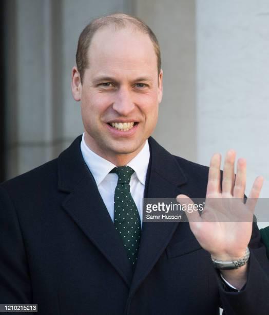 Prince William, Duke of Cambridge meets Ireland's Taoiseach Leo Varadkar and his partner Matthew Barrett on March 03, 2020 in Dublin, Ireland. The...