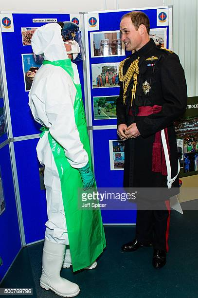 Prince William Duke of Cambridge meets medical staff during a visit at Keogh Barracks to present medals to British Army Medics on December 10 2015 in...