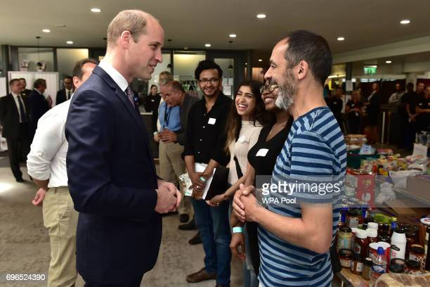 Prince William Duke of Cambridge meets members of the community affected by the fire at Grenfell Tower in west London during a visit to the Westway...